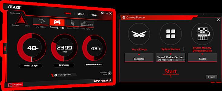 Asus GeForce GTX 1650 SUPER TUF grafikkort  med GPU Tweak II software